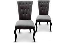 Chaise Design Lot de 2 Chaises Capitonnées Velours Gris Rockstar , deco design