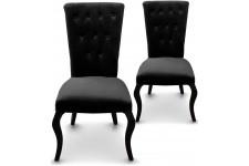Chaise Design Lot de 2 Chaises Capitonnées Velours Noir Rockstar , deco design