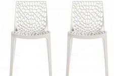 Chaise Design Lot de 2 Chaises Design Blanche Gruyer Opaque, deco design