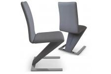 Chaise Design Lot de 2 Chaises Design Cuir Gris Cobra , deco design