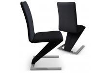 Chaise Design Lot de 2 Chaises Design Cuir Noir Cobra , deco design