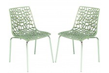 Chaise Design Lot de 2 Chaises Transparentes Jute Traviata , deco design