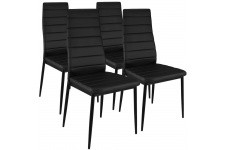 Chaise Design Lot de 4 Chaises Design Simili Cuir Noir Houston , deco design