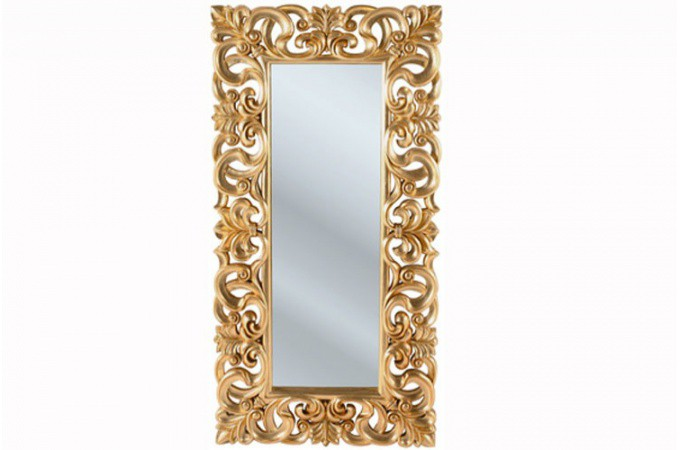 Miroir kare design baroque dor gold 180x90 miroir for Miroir dore rectangulaire