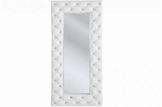 miroir mural blanc simili cuir strass - Miroir Mural Blanc Simili Cuir Strass