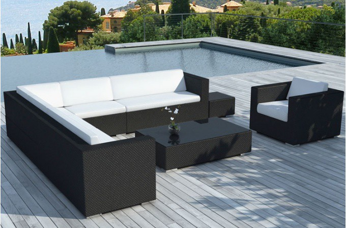 salon de jardin noir et blanc en r sine tress e californie. Black Bedroom Furniture Sets. Home Design Ideas