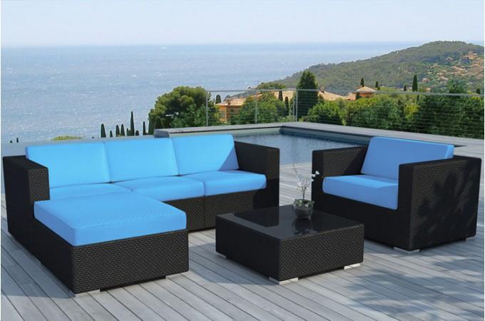 Salon de jardin en résine tressée noir et bleu LAGON Plus d\'infos