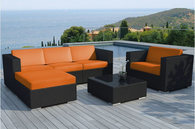 salon de jardin r sine tress e noir et orange lagon. Black Bedroom Furniture Sets. Home Design Ideas