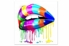 Tableau Bouche Pop Peinte 80X80 cm - Deco pop art design