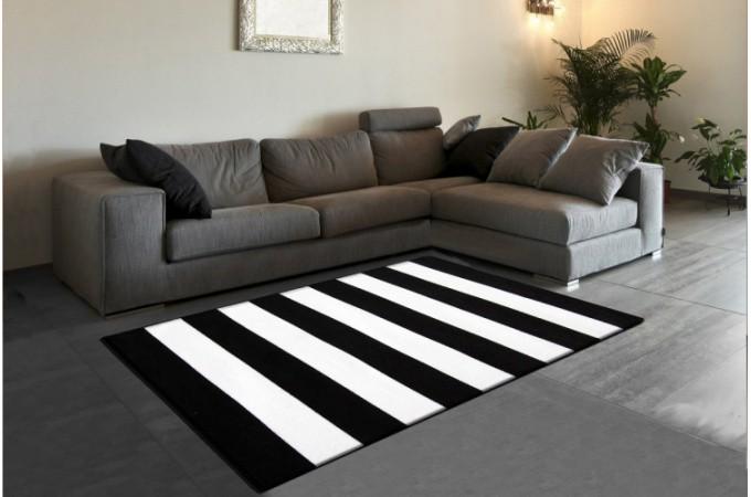 Tapis Design Rayures Noir Et Blanc 120x160 Cm Tapis Design Pas Cher