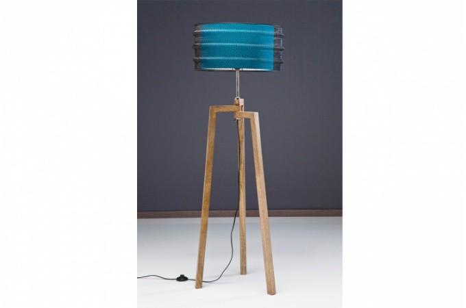 Lampadaire Bois Pas Cher : Lampadaire > Lampadaire industrie Kare Design en bois et m?tal bleu