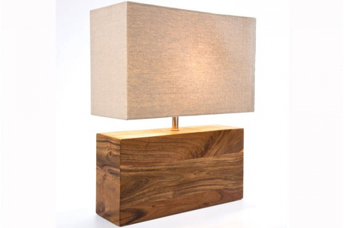 Lampe de table kare design en bois lampe poser pas cher for Lampe design en bois