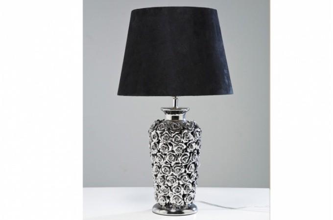 lampe poser m tal argent pied fleuri rosalie lampes poser pas cher. Black Bedroom Furniture Sets. Home Design Ideas