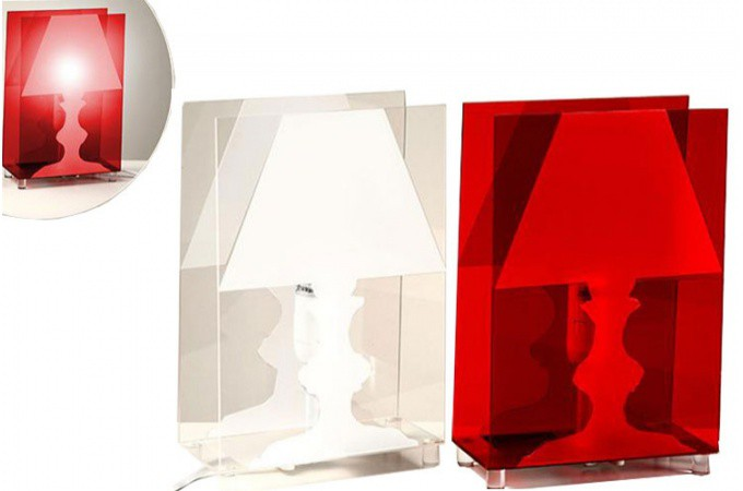 Lampe poser transparente rouge patty ebay for Lampe a poser transparente