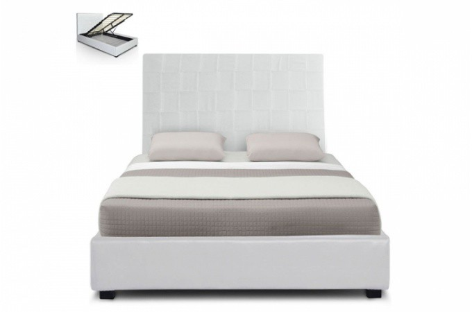 lit coffre en simili cuir blanc kal o 140x190 cm lit design pas cher. Black Bedroom Furniture Sets. Home Design Ideas