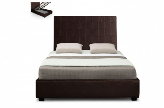 lit coffre en simili cuir choco kal o 140x190 cm lit. Black Bedroom Furniture Sets. Home Design Ideas