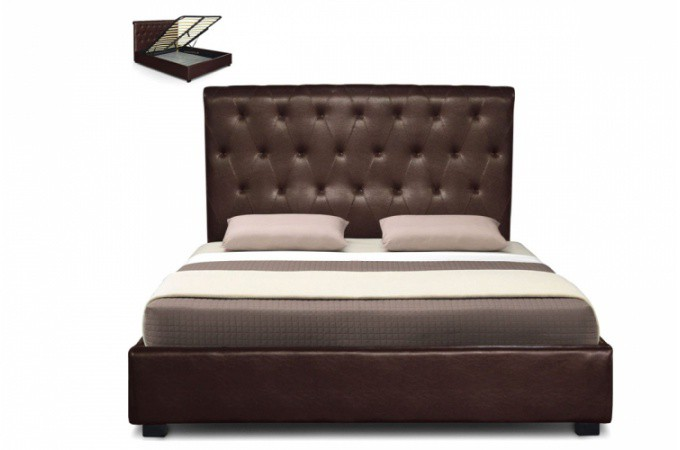 lit coffre en simili cuir marron et capitonn 160x200 cm revani lit design pas cher. Black Bedroom Furniture Sets. Home Design Ideas