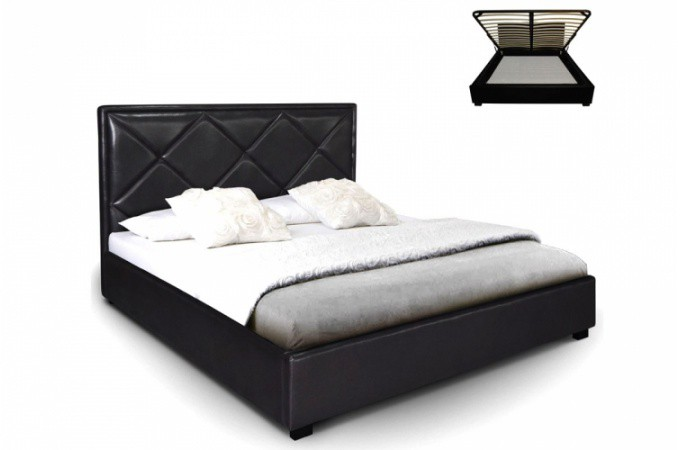 lit coffre en simili cuir noir nethos 140x190 cm lit design pas cher. Black Bedroom Furniture Sets. Home Design Ideas