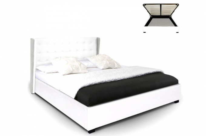 lit coffre simili cuir blanc rabatya 140x190 cm lit design pas cher. Black Bedroom Furniture Sets. Home Design Ideas