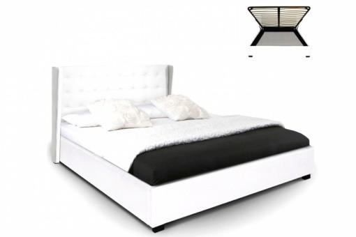lit coffre simili cuir blanc rabatya 160x200 cm lit design pas cher. Black Bedroom Furniture Sets. Home Design Ideas