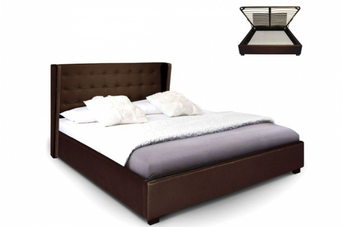 lit coffre simili cuir choco rabatya 160x200 cm lit. Black Bedroom Furniture Sets. Home Design Ideas