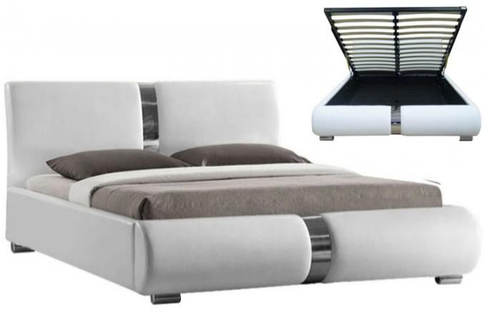 Lit coffre sommier relevable blanc vitara 140 cm lits design pas cher - Lit coffre 140 pas cher ...