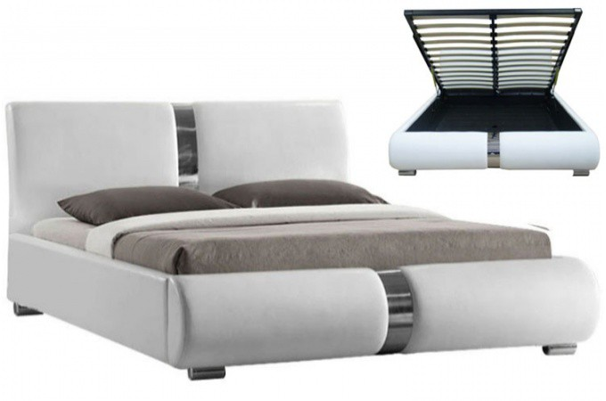 lit coffre sommier relevable blanc vitara 160 cm achat. Black Bedroom Furniture Sets. Home Design Ideas