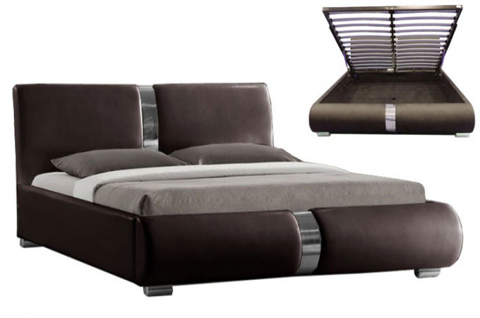 lit coffre sommier relevable choco vitara 140 cm lits design pas cher. Black Bedroom Furniture Sets. Home Design Ideas