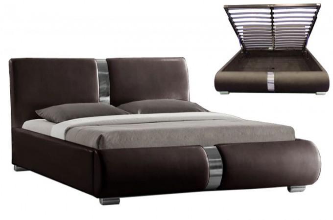Lit coffre sommier relevable choco vitara 140 cm lits design pas cher for Sommier grand lit