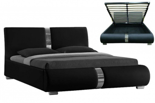 lit coffre sommier relevable noir vitara 140 cm lits design pas cher. Black Bedroom Furniture Sets. Home Design Ideas