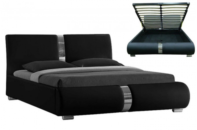 lit coffre sommier relevable noir vitara 160 cm lits. Black Bedroom Furniture Sets. Home Design Ideas
