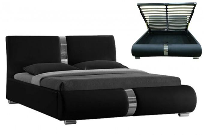 Lit coffre sommier relevable noir Vitara 160 cm - Lits design Pas Cher