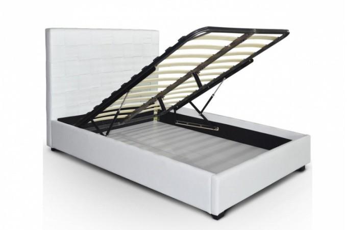 Lit coffre en simili cuir blanc kal o 160x200 cm lit design pas cher - Lit en cuir blanc pas cher ...