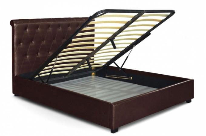 lit coffre en simili cuir marron et capitonn 160x200 cm. Black Bedroom Furniture Sets. Home Design Ideas