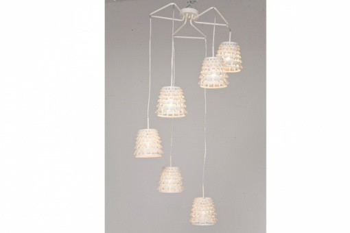 Suspension en fer blanc 6 lampes Roxane