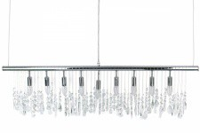 Suspension horizontale 9 lampes en argent et cristaux Olivia - Suspension kare design