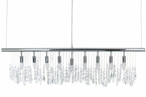 Suspension horizontale 9 lampes en argent et cristaux Olivia - Lustre et suspension design