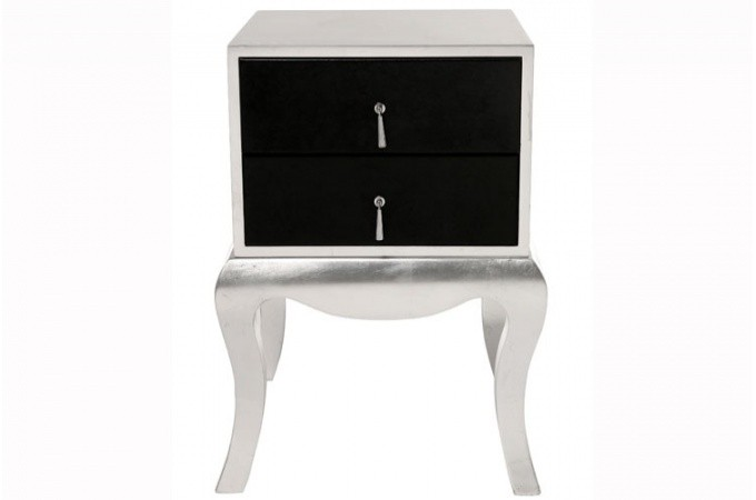 chevet baroque argent et noir luxury tables de chevets pas cher. Black Bedroom Furniture Sets. Home Design Ideas