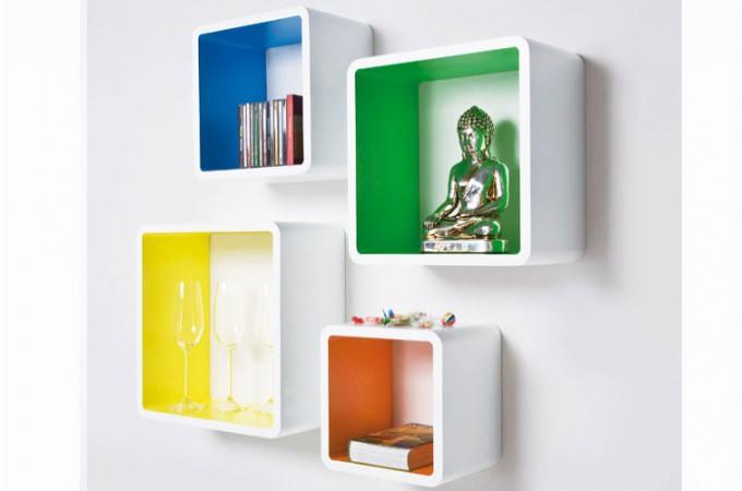 etag re murale cube multicolore set de 4 pi ces meuble de rangement pas cher. Black Bedroom Furniture Sets. Home Design Ideas