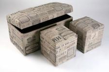 Malle et Ses deux Poufs en Lin Newspaper, deco design