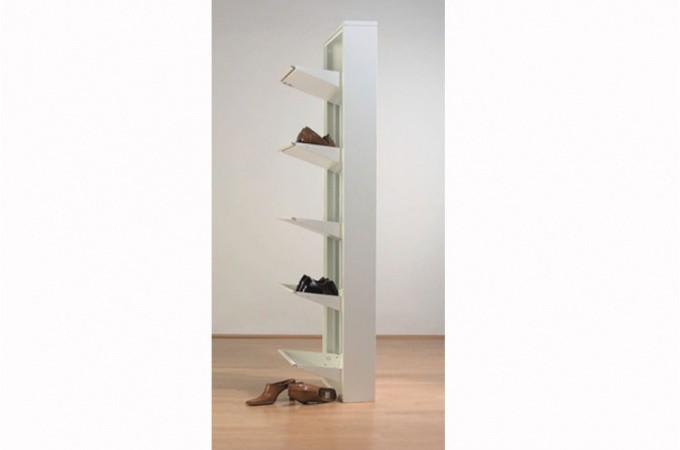 Meuble chaussures blanc 5 abattants for Meuble de rangement sejour