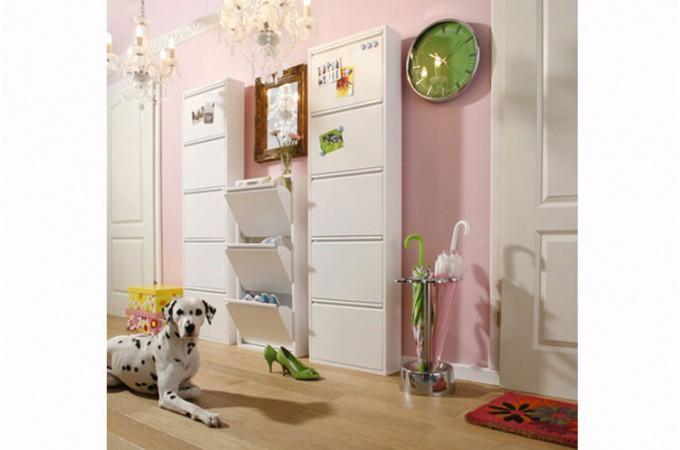 meuble à chaussures blanc 5 abattants - declikdeco.com - Meuble De Rangement Chaussures Design
