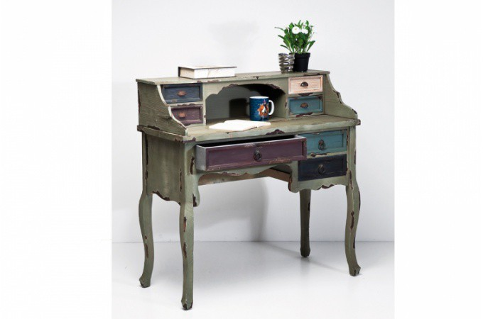 Secr taire kare design industrie en bois color tommy for Meuble secretaire bois