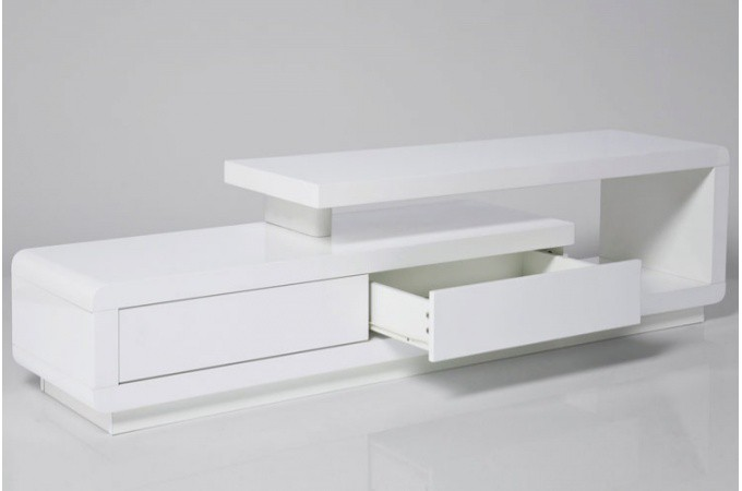 Meuble tv blanc laqu avec tiroirs people meubles tv pas for Meuble tv blanc tiroir