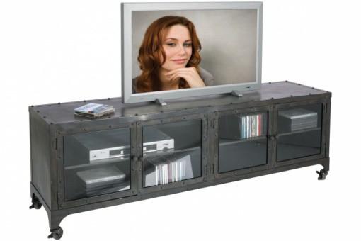 mobilier industriel meuble tv en m tal gris anthracite meuble tv atelier. Black Bedroom Furniture Sets. Home Design Ideas