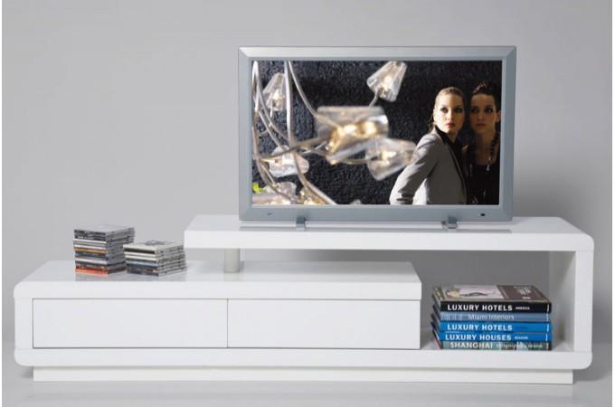 Meuble tv blanc laqu avec tiroirs people meubles tv pas cher - Meuble tv extensible blanc ...