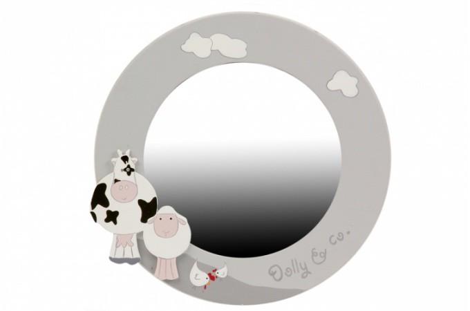 Declikdeco miroir enfant rond vache et mouton 30 cm for Miroir rond 30 cm