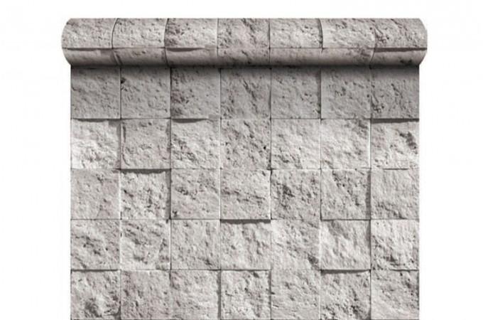 papier peint damier de pierre blanche papiers peints brique pierres pas cher. Black Bedroom Furniture Sets. Home Design Ideas