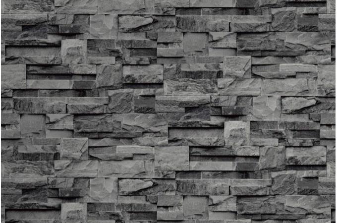 Papier peint pierre de parement grise papiers peints brique pierres pas cher for Pierre murale interieure