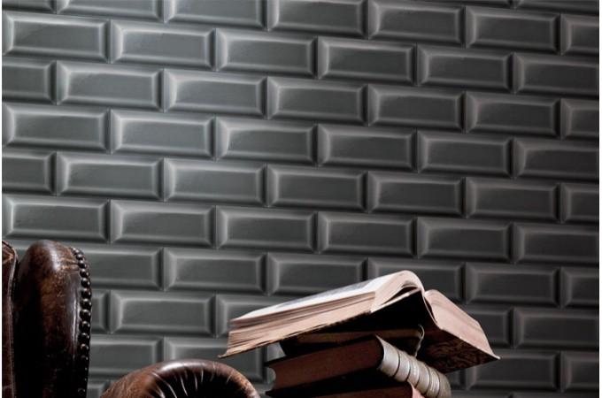 Papier peint carrelages de m tro gris anthracite papiers - Papier peint vintage pas cher ...